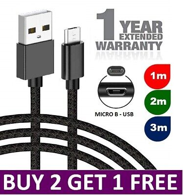 £2.49 • Buy Heavy Duty Braided Micro USB Charger Charging Lead Data Sync Phone Cable 2M 3M