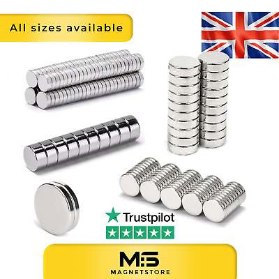 £4.99 • Buy Big & Small Neodymium Disc Magnets 2mm 3mm 5mm 6mm 8mm 10mm 20mm Strong ALL SIZE