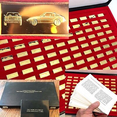 WORLD'S GREAT PERFORMANCE CARS MINIATURES 100 SILVER INGOTS COMPLETE   U18 • 401.37£