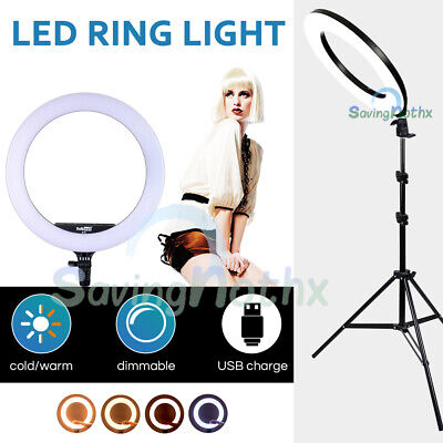 AU24.83 • Buy 12 /14 /19  5500K Dimmable Diva LED Ring Light Diffuser Stand Make Up Studio KIT