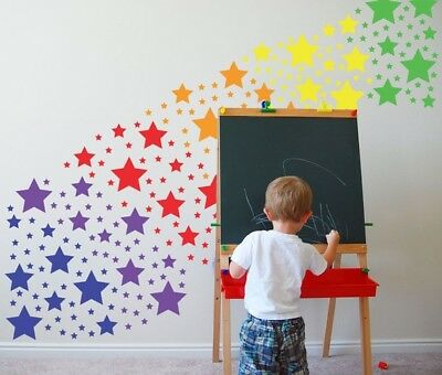 Rainbow Colorful Stars Wall Art Decal Stickers Vinyl Girl Room Kids Baby Nursery • 2.69£