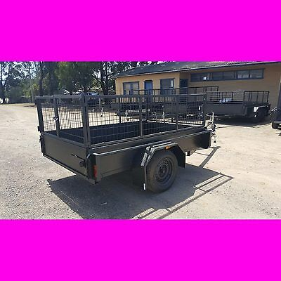 AU2099 • Buy 8x5 Galvanised Heavy Duty Box Trailer With Cage Brand New Local Made Trailer