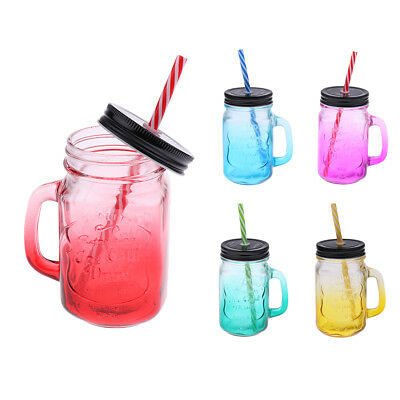 480ML Mason Jar With Handle And Straw In Caddy Drinking Glass Jar Lid • 8.38£