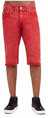 True Religion Men's Straight Big T Cut-Off Jean Shorts W/ Flaps In Mineral Red • 58.78£