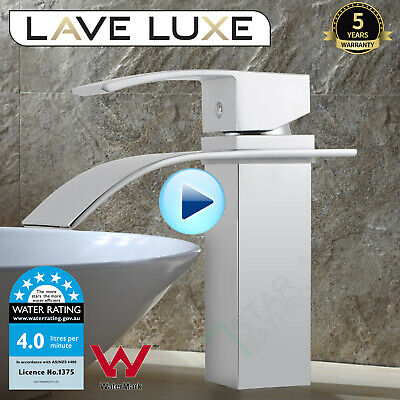 AU85 • Buy Bathroom Vanity Basin Mixer Tap Square Waterfall Faucet Brass Spout Silver WELS