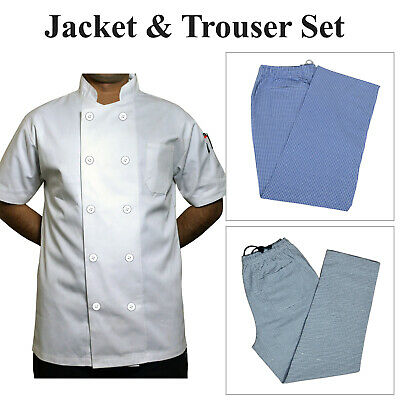 £17.09 • Buy Chef Jackets White Plastic Buttons & Gingham Check Trousers Combo Crazy Price UK