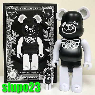 $299.99 • Buy Medicom 400% + 100% Bearbrick ~ Freemasonry X Fragment Be@rbrick Black Version
