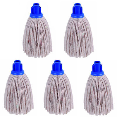 £6.79 • Buy Professional Cotton Mop Head With BLUE Plastic Socket. 220 GRAM EACH, PACK OF 5