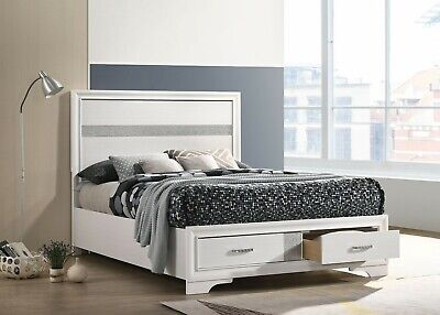 $399 • Buy Glittery White And 3d Foil Paper Veneer Queen Storage Bed Bedroom Furniture