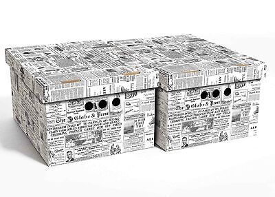 2pc Decorative Storage Boxes Home Office Box Organiser Large Newspaper • 9.99£