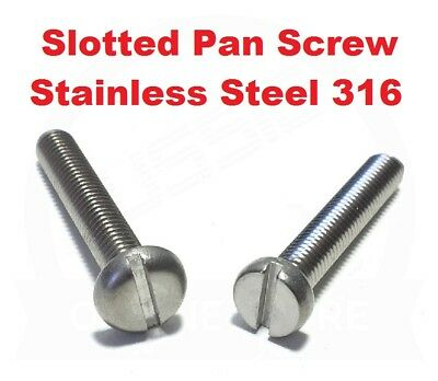 AU7.29 • Buy Pan Head Cheese Slotted Machine Screw Bolt M3 M4 M5 M6 Stainless Marine Grade316