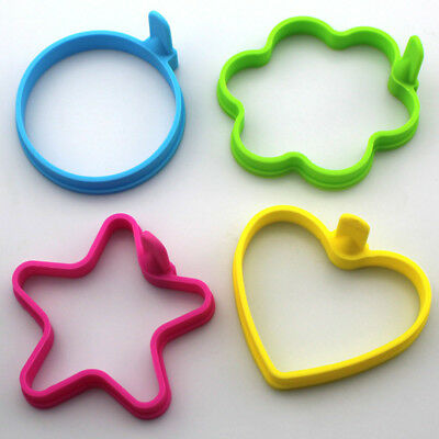 Silicone Egg Mould,Star,Round,Flower,Heart Pan Cake Shaper Fry Egg Ring Mold • 3.99£