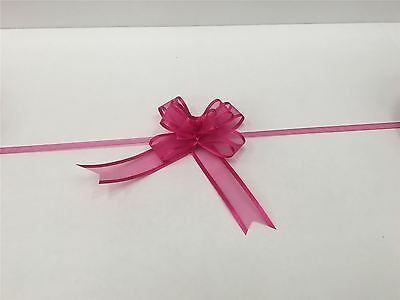 Pull Bow Organza Ribbon - Fuchsia (Pack Of 5 Pull Bows) Free P&P • 3.08£