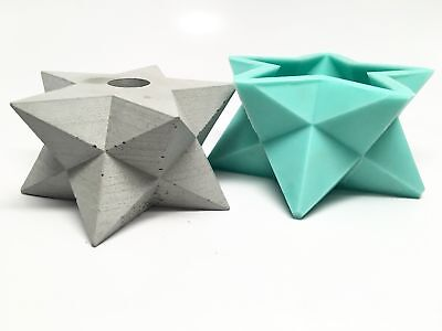 Star -  Stellated Dodecahedron - Double Merkabah Planter Mold - Silicone • 44.86£