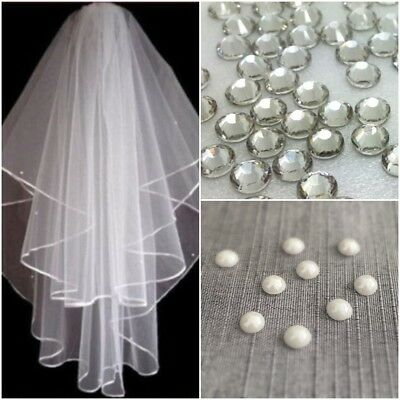 £10.95 • Buy Ivory White 2t Bridal Wedding Veil DIAMANTE CRYSTALS + PEARL BEADS Comb Elbow