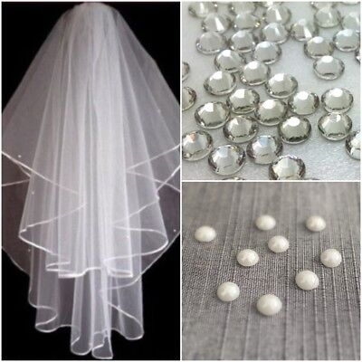 Ivory White 2t Bridal Wedding Veil DIAMANTE CRYSTALS + PEARL BEADS Comb Elbow • 9.95£