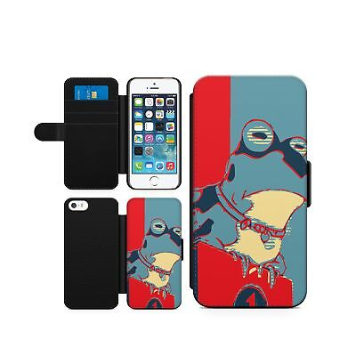 Frog Funny Red Cyan Froggy Flip Phone Cover Wallet Case Faux Leather • 8.99£