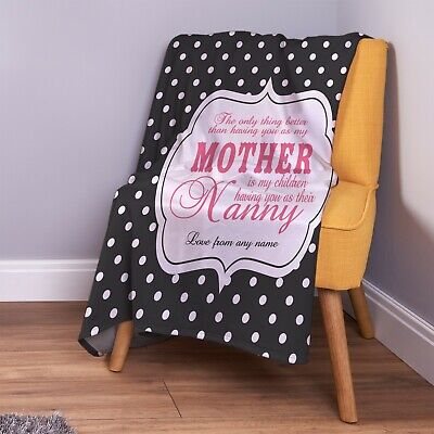 £26.99 • Buy Personalised Polka Dot Mother And Nanny Quote Design Soft Fleece Throw Blanket