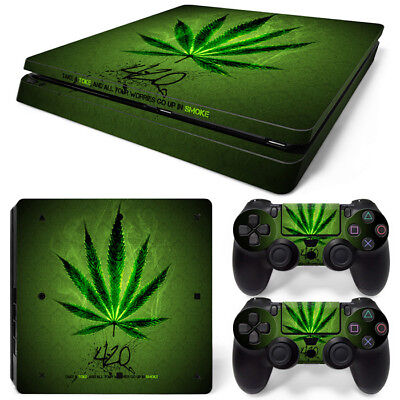 AU9.99 • Buy Marijuana Skin For Playstation 4 PS4 SLIM Console &2 Controllers Cannabis Decal