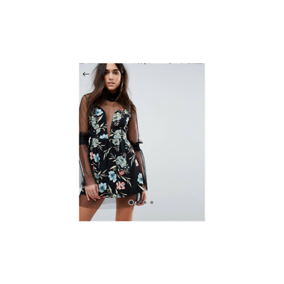 AU55 • Buy Asos Floral Dress With Sheer Chest & Sleeves. Size 16, Brand New But No Tags.