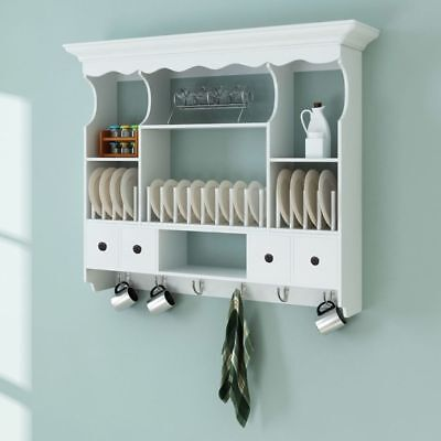 Wall Dish Rack White Wooden Kitchen Display Cabinet Mounted Plate Holder Drainer • 121.99£