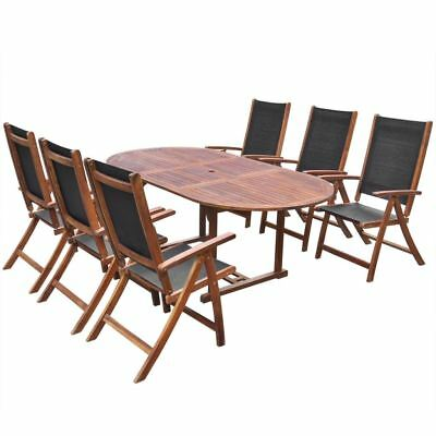 AU907.74 • Buy 7 Pc Wooden Outdoor Dining Set Timber Folding Furniture Setting Table & Chairs