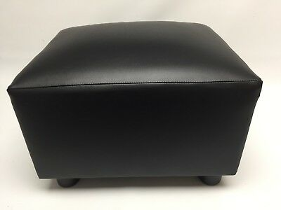 Footstool / Pouffe Small Box Stool Black Faux Leather British Made Fabric • 43.95£