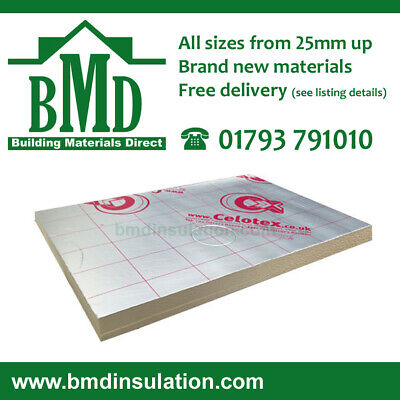 Recticel GP Celotex GA4100 Kingspan TP10 Insulation Boards 2400x1200x 100mm X 8 • 319.20£