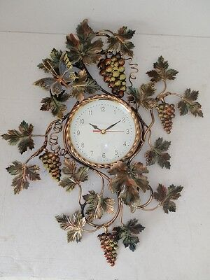 £138.76 • Buy Big Wall Clock Uva With Leaves Wrought Iron Gold