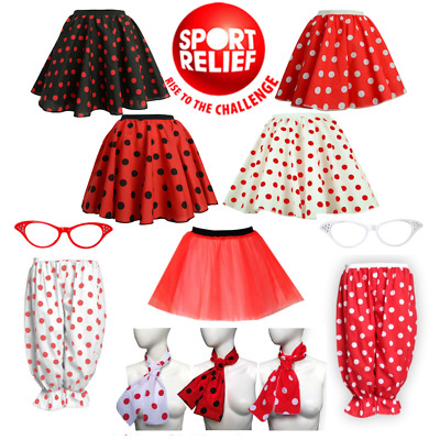 UK GIRLS Ladies SPORTS RELIEF & RED NOSE DAY COSTUME Polka Dot Skirt Fancy Dress • 6.99£