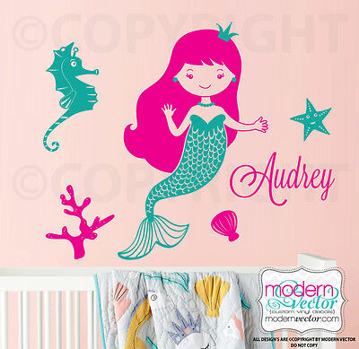 Mermaid Vinyl Wall Decal Personalized Name, Nautical Girl Bedroom Ocean Sea Art • 23.17£
