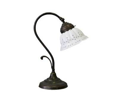 Lamp For Bedside Table Bedroom Brass Burnished Lampshade Glass White • 84.64£