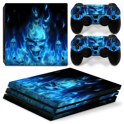 AU10.99 • Buy Ps4 PRO Playstation 4 Console Decal Sticker Blue Skull Fire+ Controller Skin Set