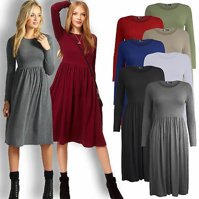 Ladies Women Frankie Swing Dress Flared Skater Jersey Long Sleeve Midi Plus • 12.99£