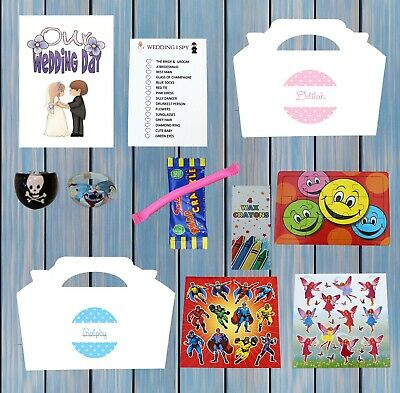£1.95 • Buy Personalised Childrens Kids Wedding Activity Pack Party Bag Favour Box