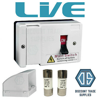 Fused Main Switch Fuse Isolator 80 And 100 Amp With Cable Duct Shroud LFIS100  • 16.99£