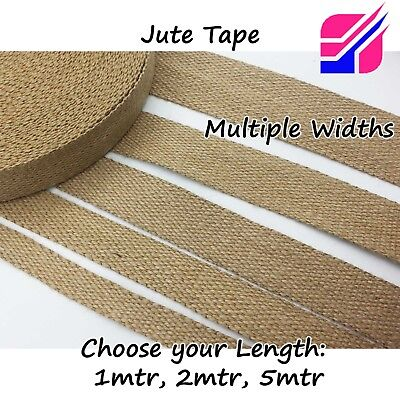 100% Natural Jute Webbing Strapping Tape Strap Wedding Decor Canvas  • 6.45£