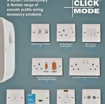 £4.99 • Buy Click Mode White Moulded Light Switches & Sockets - Full Range 20 Year Guarantee