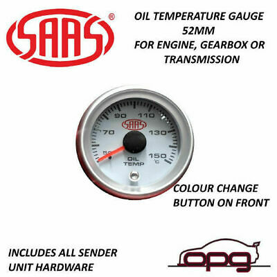 AU49.99 • Buy SAAS SG-OT52W Performance Trans Oil Temp 52mm Analog Gauge White Face 4 Colour