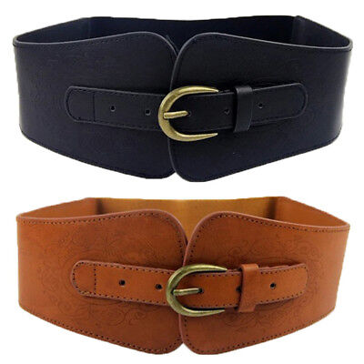$10.99 • Buy USA Shipping Women Lady Super Wide Faux Leather Totem Elastic Corset Cinch Belt