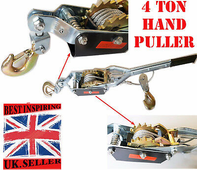 £49.99 • Buy New 4 Ton Cable Puller Pulling Hand Power Winch Hoist Turfer Trailer Car Tool