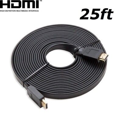 $ CDN9.67 • Buy HDMI 25ft Flat HDMI V1.4 3D Ethernet Cable For Blu-ray DVD Xbox One PS4 HDTV BK