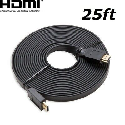 $ CDN8.85 • Buy HDMI 25ft Flat HDMI V1.4 3D Ethernet Cable For Blu-ray DVD Xbox One PS4 HDTV BK