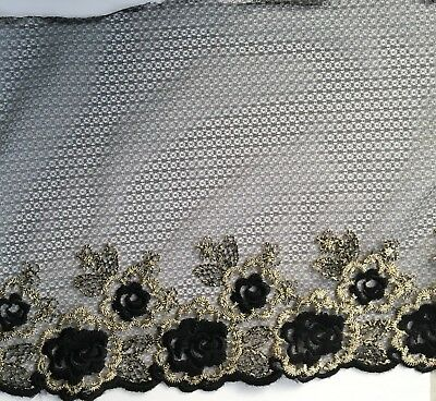 Black With Gold Lurex Embroidered Nylon Lace Fabric Trim 1 Yard  Width 20 Cm • 2.99£