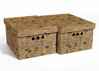 2pc Decorative Storage Boxes Home Office Box Organiser XLarge Old Newspaper • 13.99£