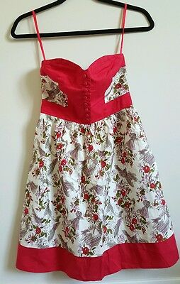 $ CDN27 • Buy Anthropologie Kimchi Blue Red Dress Floral Print Strapless Sweetheart  XS