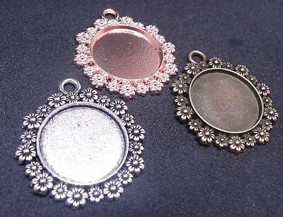Round Flower Daisy Cabochon Cameo Settings Charm 35x32mm Tray Fit 20mm Craft DIY • 2.99£