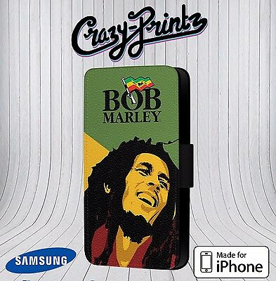 Bob Marley Jamaican Reggae Fits IPhone/Samsung Leather Flip Case Cover Wallet A1 • 9.99£