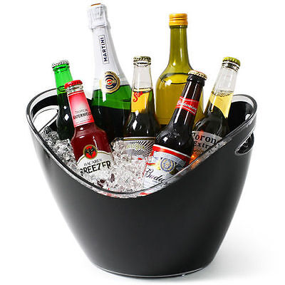 Champagne Beer Ice Bucket Black Acrylic Plastic Large Oval Drinks Pail Cooler  • 17.99£