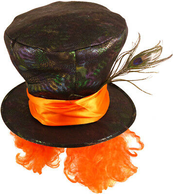 £8.99 • Buy Mad Hatter Top Hat With Orange Hair & A Feather- Alice In Wonderland Fancy Dress